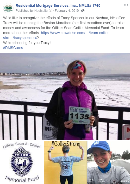Tracy Spencer of our Nashua, NH office, ran the Boston Marathon to raise money for the Officer Sean Collier Memorial Fund