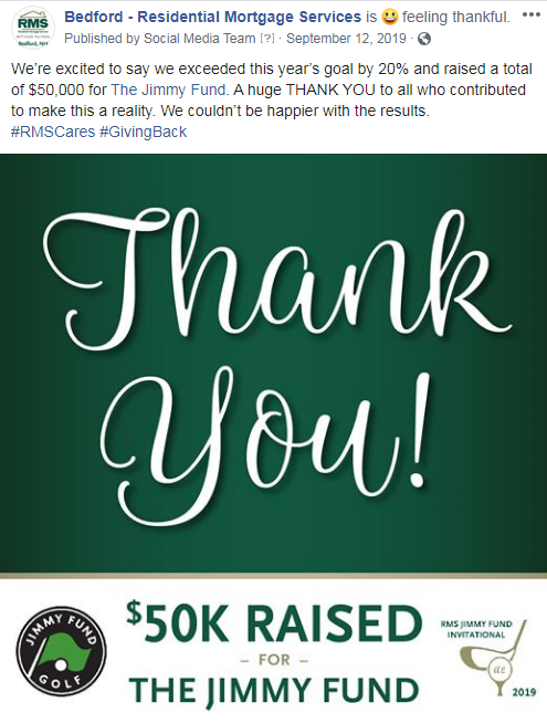 Residential Mortgage Services raised $50,000 for The Jimmy Fund