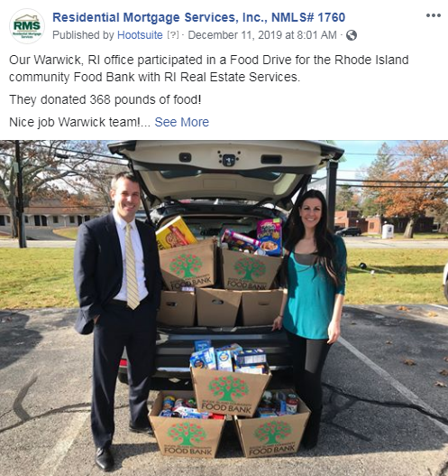 The Warwick, RI team participated in a food drive for the Rhode Island Community Food Bank